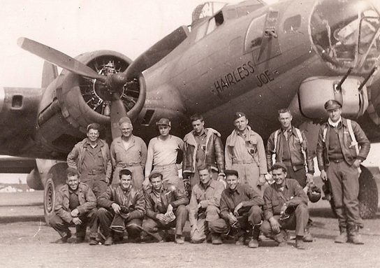 """The """"Newcomb Crew"""" of B-17 Bomber """"Hairless Joe,"""" 463rd Bomb Group, 15 AAF"""